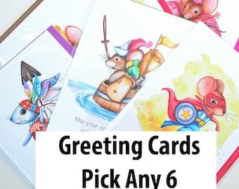 Greeting Card, 5x7 Card, Animal Art, Children's Art, Watercolor, Art Print, Children's Illustrations
