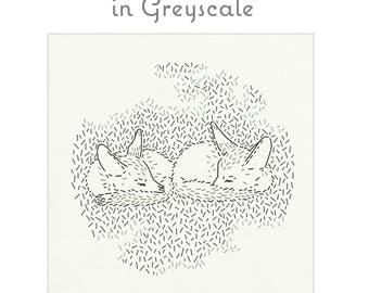 GREYSCALE  pre-printed fabric for embroidery by StudioMME, foxes, fox embroidery, twins, nursery art