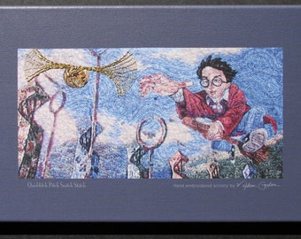 Harry Potter, Quidditch Pitch Snitch Stitch, print, on canvas, Snitch hand embroidered, 10x16