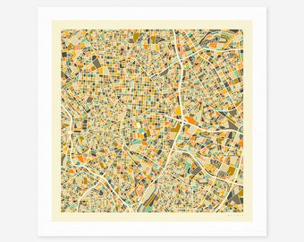 MADRID MAP (Giclée Fine Art Print/Photo Print/Poster Print) by Jazzberry Blue (ivory version)