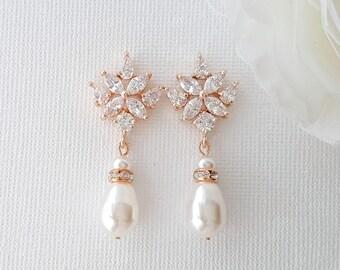 Rose Gold Bridal Earrings Crystal Wedding Earrings Bridesmaids Swarovski Pearls Drop Earrings Bridal Jewelry Rose Gold Jewelry, Rosa