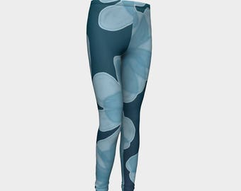 Indigo Dark Blue  Flower Girls Leggings, Girls Leggings