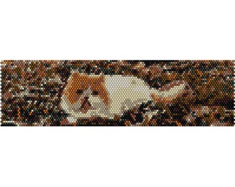 Persian Cat in Leaves Peyote Bead Pattern, Bracelet Cuff, Bookmark, Seed Beading Pattern Miyuki Delica Size 11 Beads - PDF Instant Download