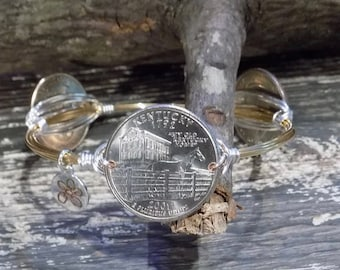 Bourbon & Boweties Inspired Bracelet. Kentucky Quarter Horse Coins Wire Wrapped Bangle (Can also get any other STATE quarters upon request).