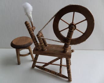 1:12th Spinning Wheel and Stool Dolls House Miniature