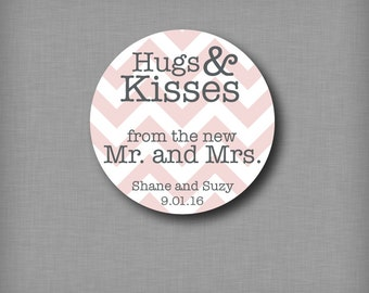 Hug and Kisses From the New Mr and Mrs Chevron Wedding Favor Sticker Labels