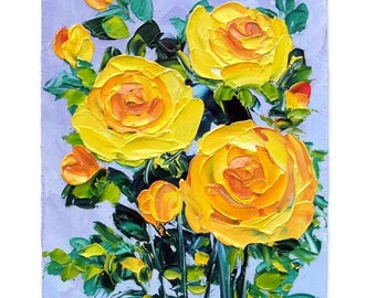 Yellow Roses Small Impasto Oil Painting Flower Floral Original Mini Art Palette Knife House Shabby Chic Home Wall Decor Gift for Her 5x7