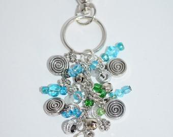 Swivel Clip Keychain Flower, Flower & Spiral Keychain, Blue Bead Keychain, Flower Keychian, Spiral Keychain, Beaded Keychain, Fun Keychains