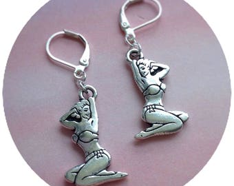 Woman Pin up Bikini Babe earrings, 1950s, vintage, 50s, sold per pair (leave qty as 1)