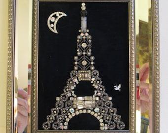 Jeweled Framed Jewelry Art Eiffel Tower Paris France Navy Blue Silver Vintage Deco Rhinestones Fabulous