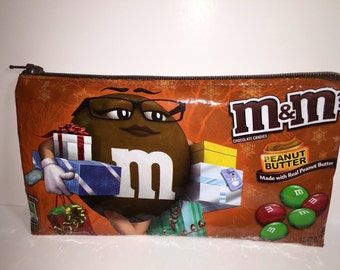 M&M's Christmas Peanut Butter Candy Wrapper Up-cycled Zippered Bag/Pouch