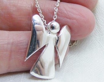 Sterling Silver Blossom Angel Pendant, Smooth Polished Silver Angel, Angel Jewellery Maker