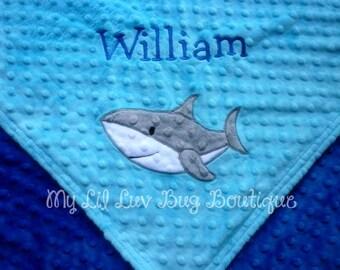 Personalized name baby Blanket- shark baby blanket- turquoise and cobalt blue shark- baby stroller blanket