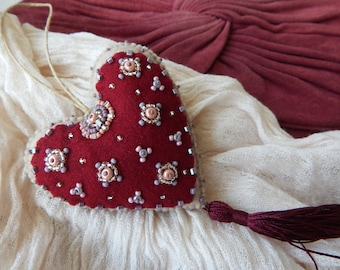 Beautiful embroidered two-sided heart ornament.Bordeaux heart.Mothers Day Gift.Unique ornament.One-of-a-kind Gift.From Cyprus with Love