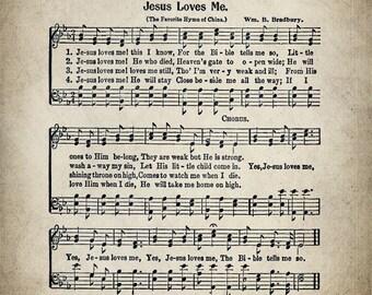 Jesus Loves Me Hymn Print - Sheet Music Art - Hymn Art - Hymnal Sheet - Home Decor - Music Sheet - Print - #HYMN-P-024