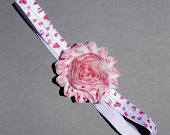 Pink and White Valentines Day Shabby Headband
