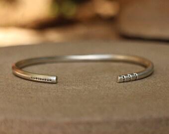 Silver cuff bracelet, Black diamond bracelet, Unique silver bracelet, Statement Cuff, Black Cuff Bracelet