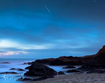 Make a Wish - Giclee Photographic Print on Canvas. Wall Art. Home Decor. Office Decor. Ocean. Beach. Sky. Stars. Shooting Star. Fine Art.