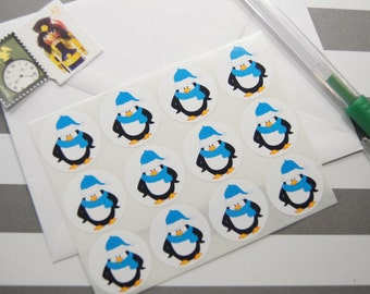 Penguin Stickers Envelope Seals One Inch Round set of 12 SES336A