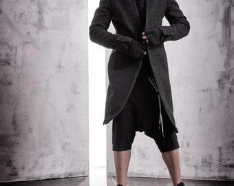 Minimalist Mens Coat / Charcoal Melange Wool Coat / Mens Long Overcoat / Extravagant Mens Clothing / Tailored Mens Coat by POWHA