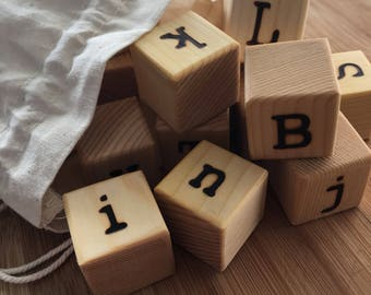 Wood Alphabet Blocks / Wood Blocks / Alphabet Blocks / Natural Wood Blocks / ABC Blocks