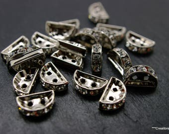 10 connectors silver swarovski 12 x 3 mm