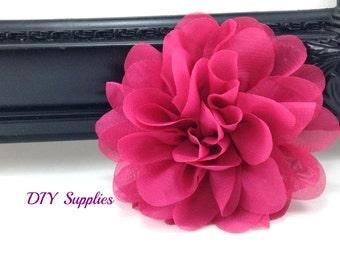 Fuschia chiffon scalloped flower - diy headband - fabric flowers - wholesale flowers - hair bow supplies - silk flowers - flower wholesale