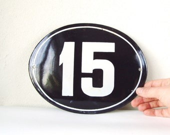 Enamel Sign 15 Vintage Porcelain House Number Sign from USSR Soviet Memorabilia 7x9 inches, Available More Numbers