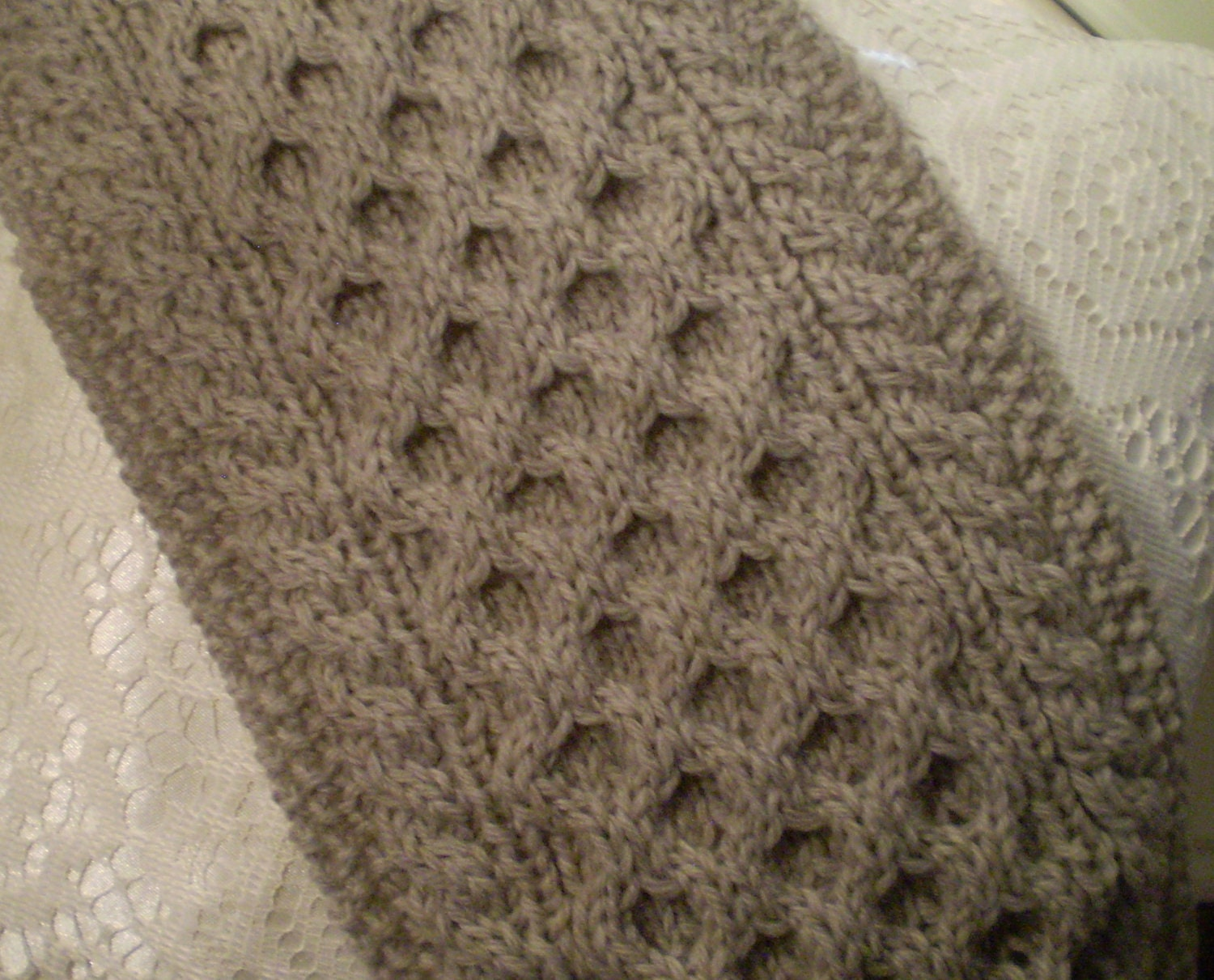 Handmade Cable Knit Scarf from Fisherman\'s Wool Honeycomb