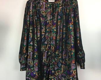 Authentic vintage 80's Givenchy en plus multi coloured long blazer size L/XL
