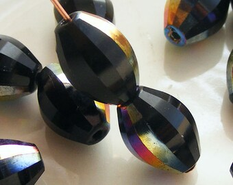 Czech Glass Global Melon Beads 12x9mm Black Vitrail (10 pk) SRB-12x9G-BV