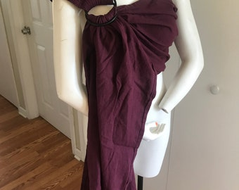 Wine  linen ring sling with your choice ring color