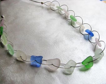 Genuine Sea Glass Jewelry - Sea Glass Necklace - Whimsical Beach Glass Necklace - Pastel Sea Glass- Prince Edward Island Sea Glass Gifts