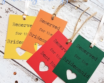 9 Rustic Wedding Reserved Sign Tags Personalised. 21 Colour Options, with Heart Cut Out Detail. Lace, Twine or Ribbon. Kraft Wedding Sign