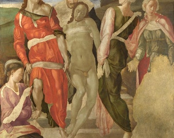 Michelangelo Buonarroti : The Entombment (1525) Canvas Gallery Wrapped Giclee Wall Art Print (D650)