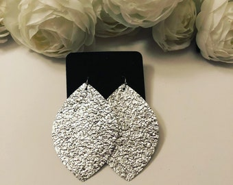 Silver Nugget Faux Leather Earrings
