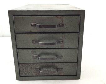 Vintage metal drawer, tool box,  metal cabinet,metal drawer box, four drawer, industrial decor, storage cabinet ,gray, organizer, file box