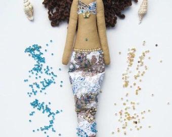 Mermaid doll fabric doll softie plush cloth doll art doll handmade doll paisley brunette nursery decor, baby shower room decor doll