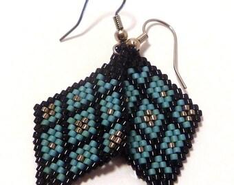 Basketweaving Earrings - Handcrafted Brick-stitch Earrings - turquoise, black, silver