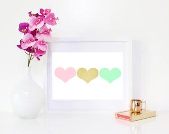 DIGITAL DOWNLOAD, Hearts, Heart Art, Heart Wall Decor