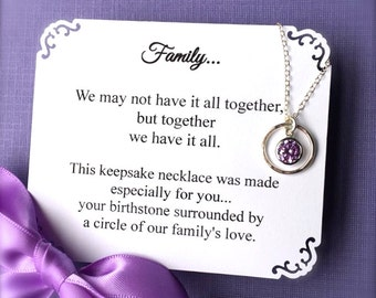 Grandma Necklace for Mom Gift for Great Grandmother Jewelry CHOOSE ANY BiRTHSTONE Necklace Cubic Zirconia Sterling Sil. Mother's Day Jewelry