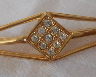 VINTAGE Rhinestone & Gold Metal Signed Trifari Costume Jewelry Bar Brooch