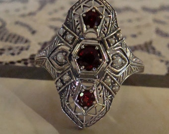 Art Deco design Sterling Silver Garnet & Seed Pearl  Ring  Size 8.75