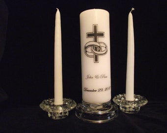 Unity  Candle / Wedding Rings/ Cross  names and date with tapers