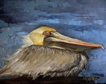 Pelican Painting Giclee Print on Canvas, Wildlife Print, Bird Print, Choose Your Size, Free Shipping, Ready to Hang, No Frame Needed