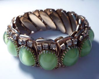 Lovely Vintage Expandable Bracelet With Light Green Oval Cabochons And Clear Rhinestones Gold-Tone Retro Glam Eye Catching