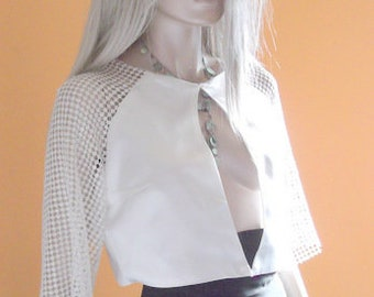white lace jacket, wedding jacket, shrug, lace bolero