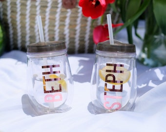 Personalized Wine Tumblers, Rose Gold, Bridal Party Cups, Bridesmaid Cups, Bride Tribe, Monogrammed Tumbler, Bachelorette, Stemless Wine Cup