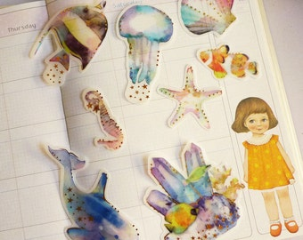 Underwater World - Waterproof Transfer Paper Flake Sticker Set - Poste Lippee - 8 Designs - 32 Pcs