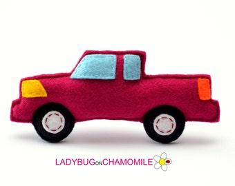 Felt PICKUP TRUCK, stuffed felt Country truck car magnet or ornament, Pickup toy, Technics, Vehicles, Nursery decor,Pickup  magnet,kids toy
